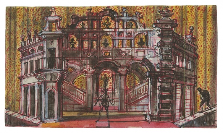 Stage design for Act II, Scene 1 in Don Giovanni performed at the Metropolitan Opera, New York.