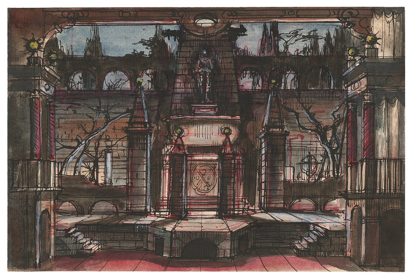 Stage design for Act II, Scene 3 in Don Giovanni performed at the Metropolitan Opera, New York.