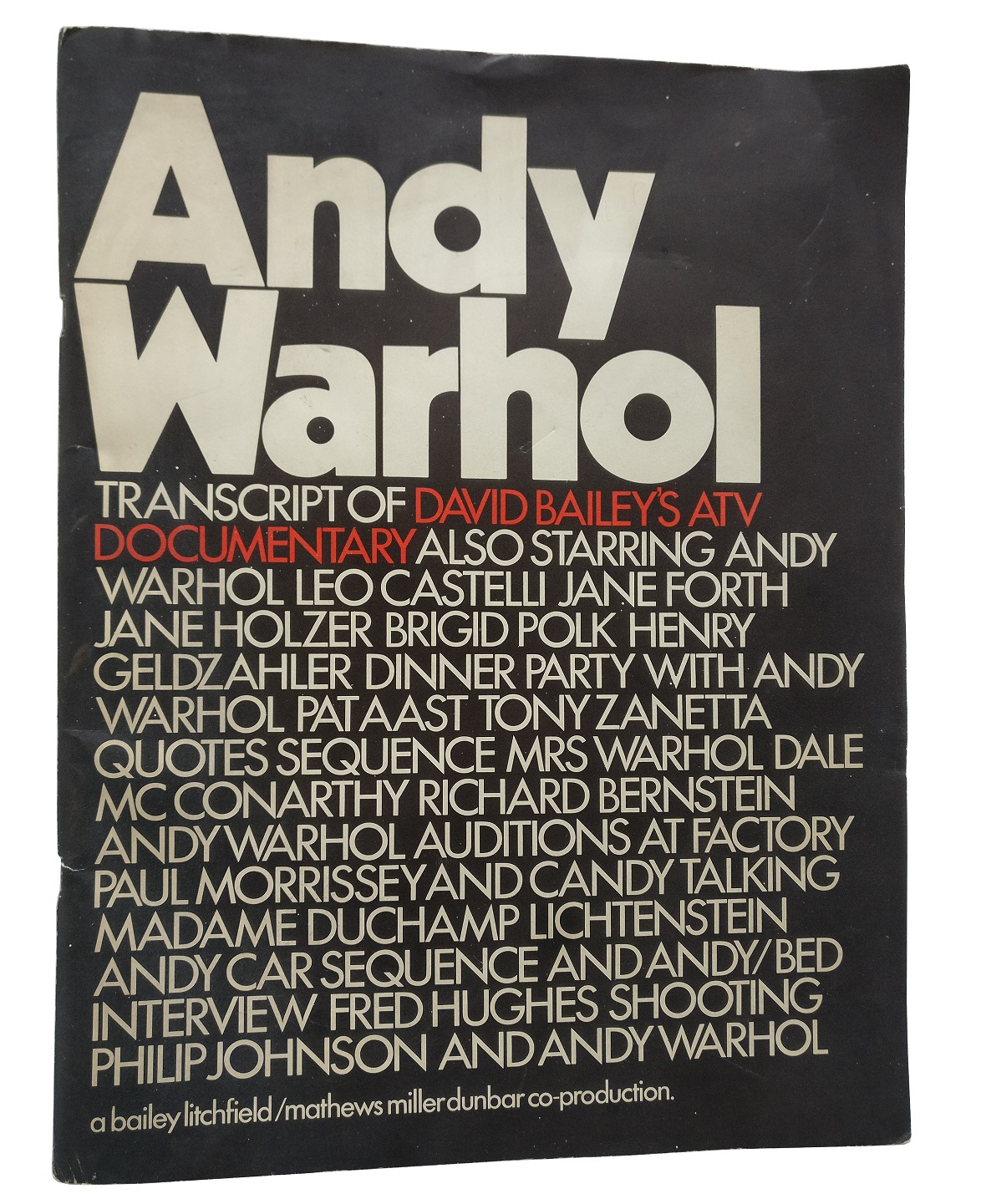 andy warhol transcript of david baileys atv documentary
