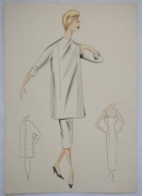 A collection of 1950s' fashion illustrations depicting designs by fashion couturiers including Balmain and Dior
