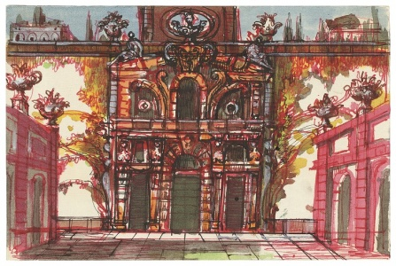 Stage design for Act I, Scene 1 in Don Giovanni performed at the Metropolitan Opera, New York.